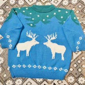 Hand knit Christmas winter snow holiday sweater